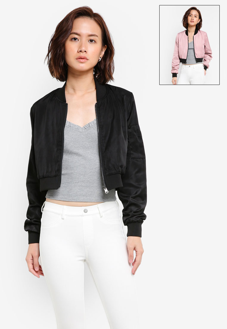FACTORIE | Reversible Crop Bomber Jacket | Shoppr